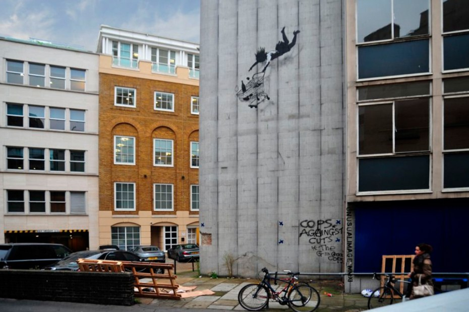 "Image of New Banksy Works in London ""Shop Till You Drop"""