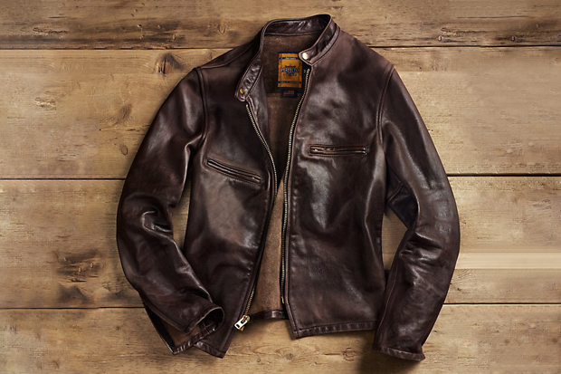Image of Restoration Hardware x Schott NYC Vintaged Cafe Racer Motorcycle Jacket