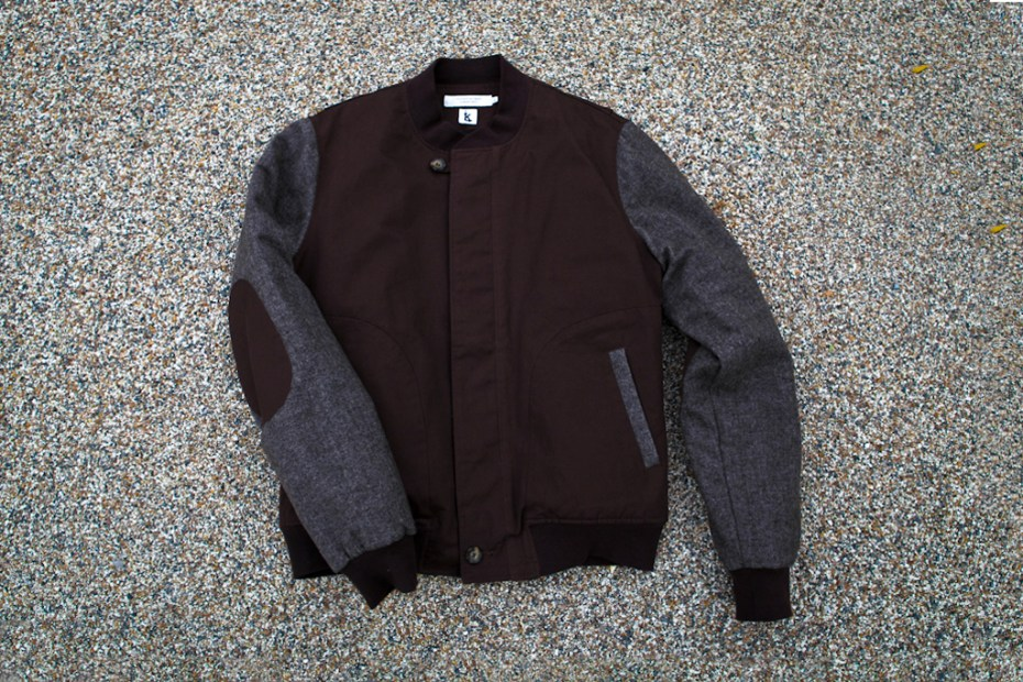 Image of Ronnie Fieg x Shades of Grey by Micah Cohen Chocolate/Tweed Baseball Jacket