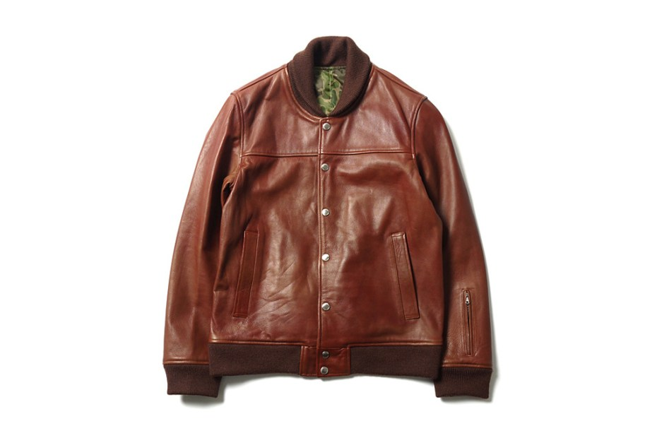Image of SOPHNET. Leather Stadium Blouson