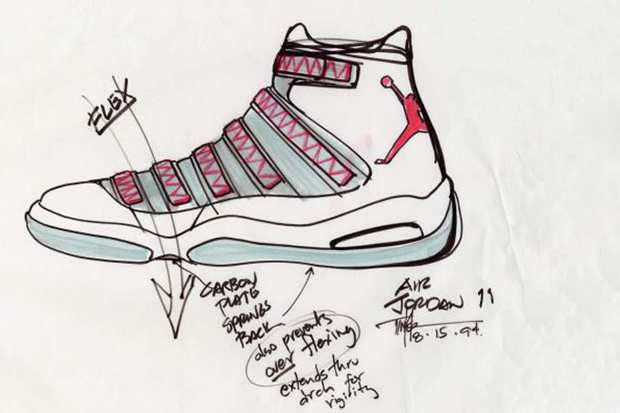 Image of Air Jordan XI Original Sketches By Tinker Hatfield