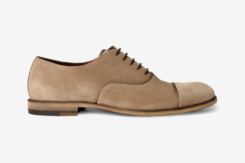 Image of Bottega Veneta Taupe Suede &amp; Grosgrain Oxford