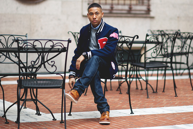 "Image of Boylston Trading Co. x Mitchell & Ness ""Coin & Leaf League"" Baseball Jacket"