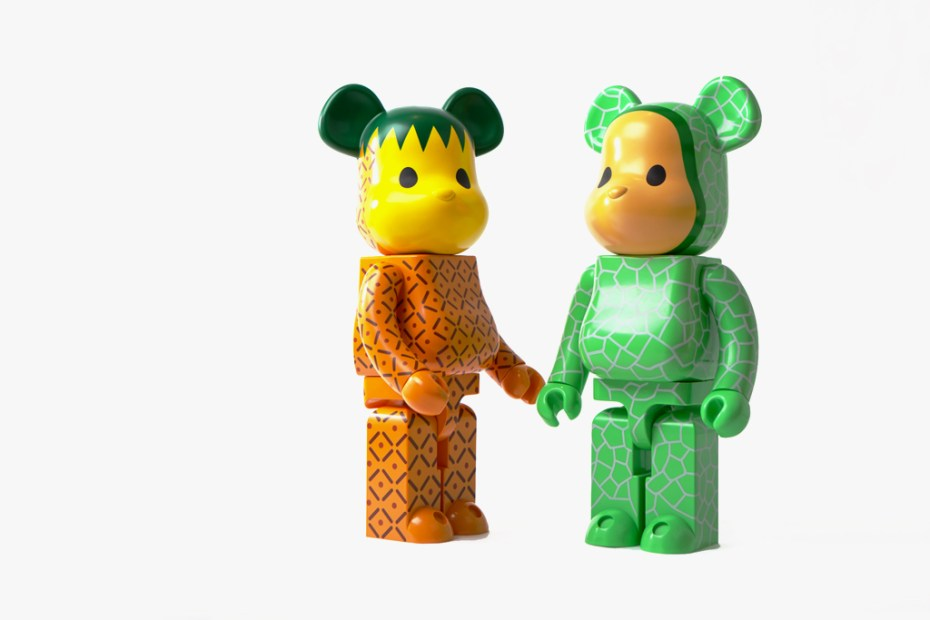 Image of CLOT x Medicom Toy 1000% Bearbrick Melon & Pineapple Set