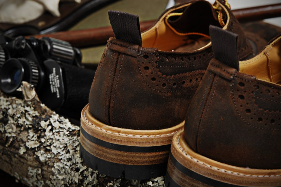 Image of Tricker's for End Hunting Co. Waxy Espresso Two Tone Brogue & Super Boot