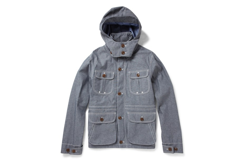 Image of Woolrich Lightweight Blue Cotton-Blend Chambray Jacket