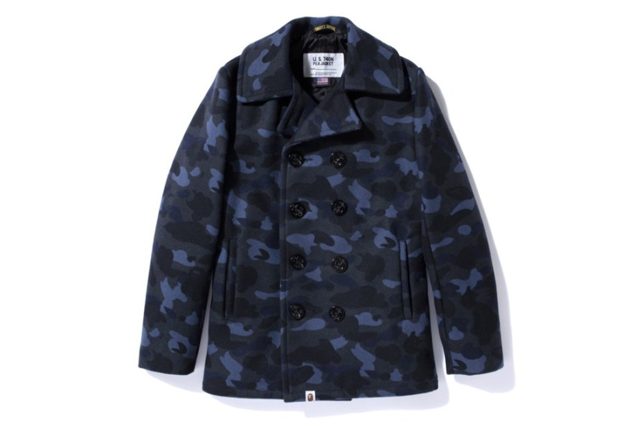 Image of A Bathing Ape x Schott NYC 1ST CAMO PEA COAT