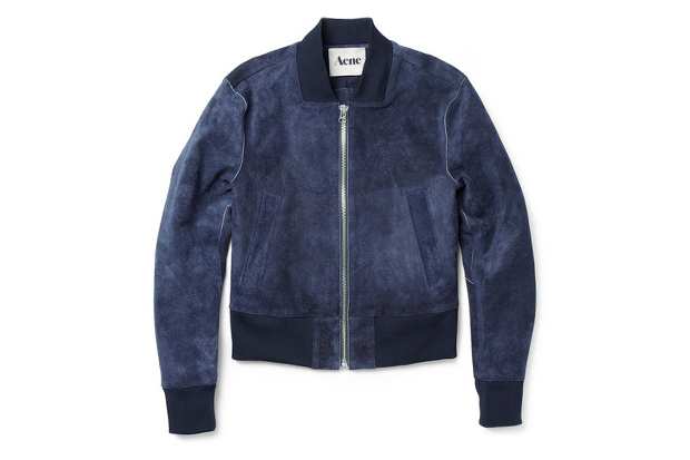 Image of Acne Mckenzie Suede Cropped Bomber Jacket