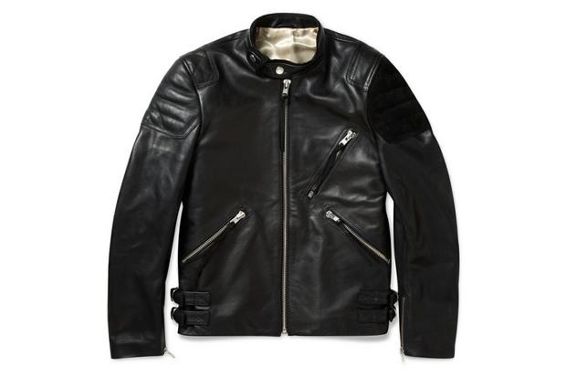 Image of Acne Oliver Leather & Suede Biker Jacket