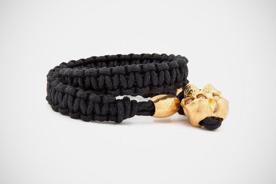 Image of Alexander McQueen Woven Skull Bracelet