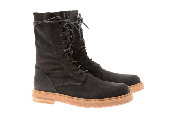 Image of Ann Demeulemeester Black Washed Suede Biker Boots