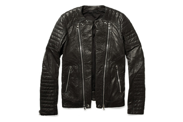 Image of Balmain Zipped Padded Leather Biker Jacket