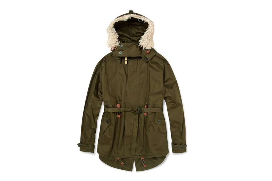 Image of Burberry Prorsum Raffia Cotton Twill Parka