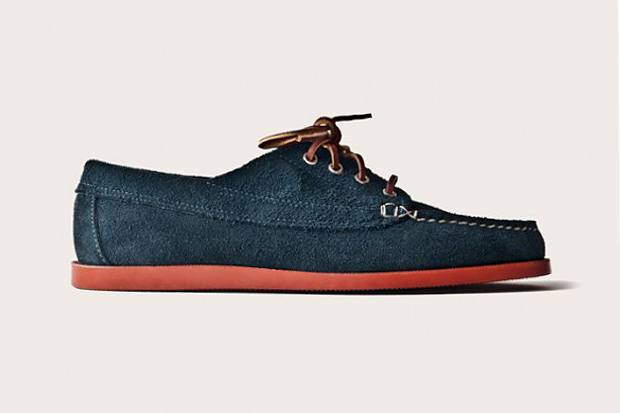 Image of Oak Street Bootmakers Navy Suede Red Brick Sole Trail Oxford
