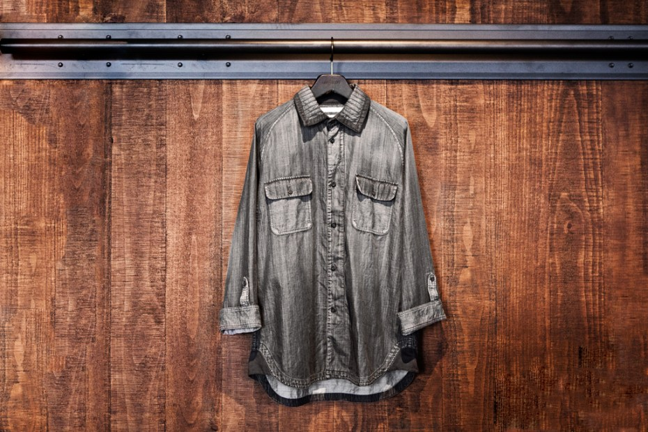 Image of White Mountaineering for Lane Crawford Black Dyed Denim Shirt