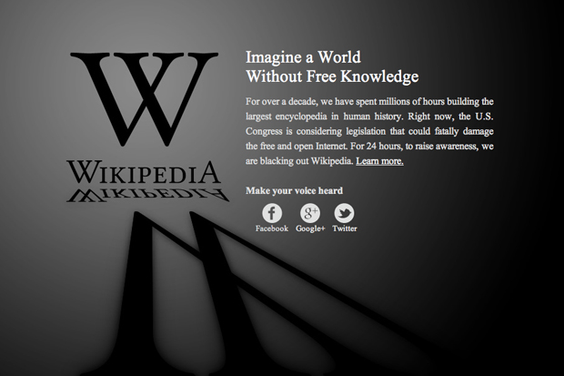 Image of Wikipedia Anti-SOPA Blackout