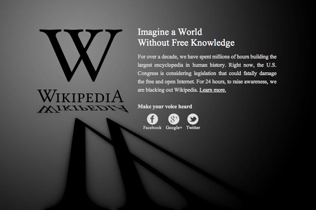 Image of Wikipedia Anti-SOPA Blackout
