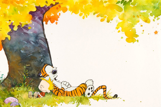 Image of Calvin and Hobbes 1989-90 Calendar Cover Original Artwork Auction
