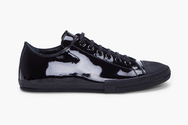 Image of Jil Sander Black Patent Low Top Sneaker