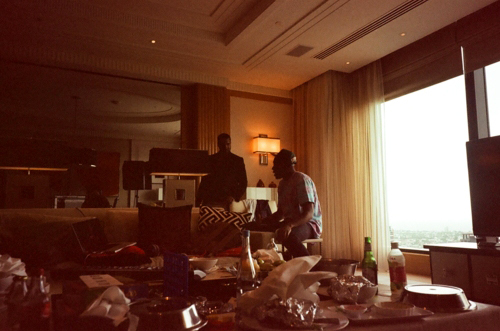Image of Kanye West, Frank Ocean and Tyler, the Creator in the Studio