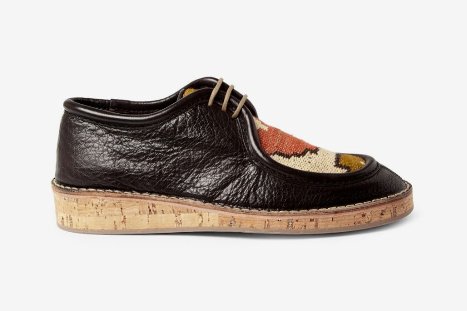 Image of Burberry Prorsum 2012 Spring/Summer Woven Top Cork Sole Leather Shoes