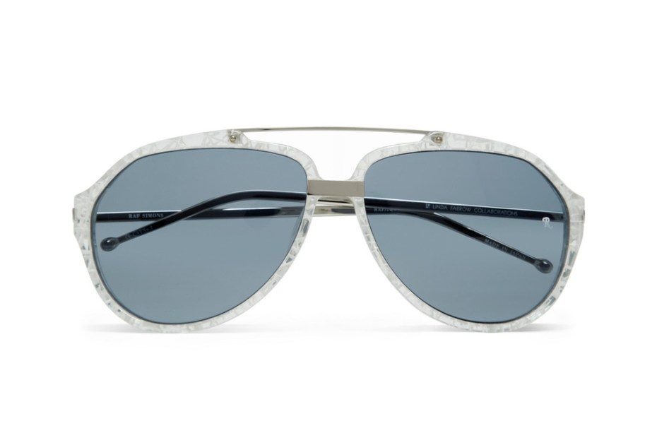 Image of Raf Simons Cracked-Effect Aviator Sunglasses