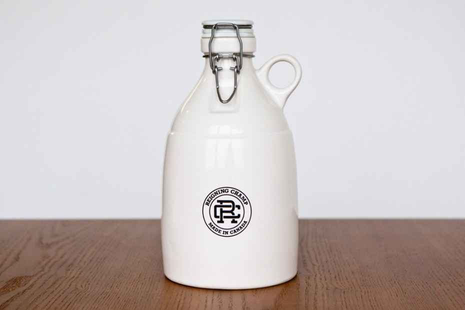 Image of Reigning Champ x Portland Growler Co. 64 oz. White Loop-Gloss Growler