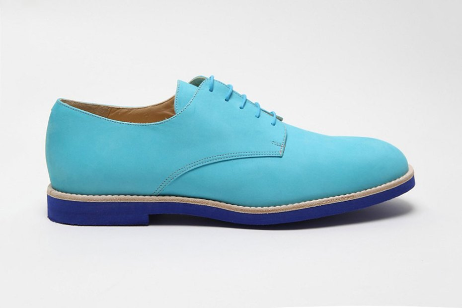 Image of T&F Slack Shoemakers London Nubuck Turquesa Derby Shoe With Micro Sole