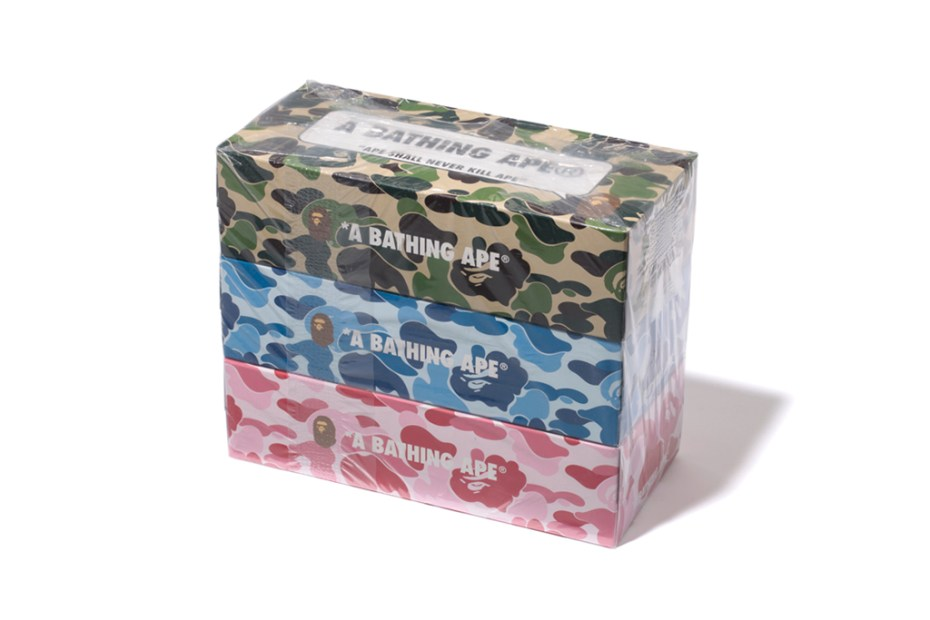 Image of BAPE ABC CAMO 3 PACK TISSUE BOX