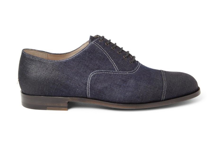 Image of Bottega Veneta Oiled Denim Oxford Shoe