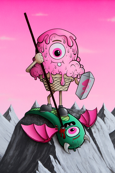 """Image of Buff Monster """"Legend of the Pink Cherry"""" Exhibition @ Corey Helford Gallery"""