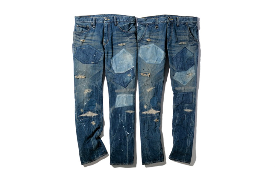 Image of SOPHNET. X-146 Hard Damaged Paint Denim Pants