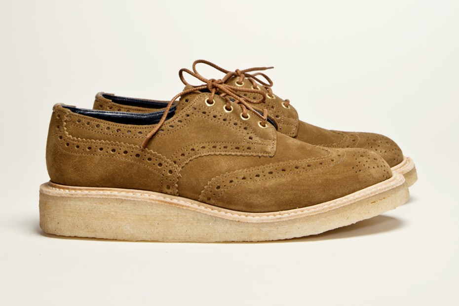 Image of Très Bien Shop x Tricker's Country Brogue Stone Brown Suede