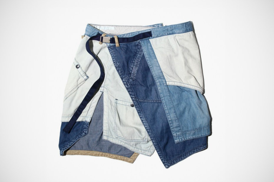 Image of White Mountaineering Denim Apron Shorts