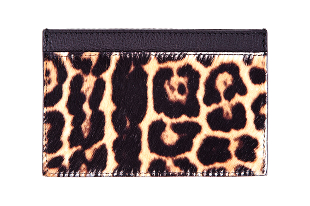 Image of Yves Saint Laurent Leopard Print Calf-Hair Cardholder