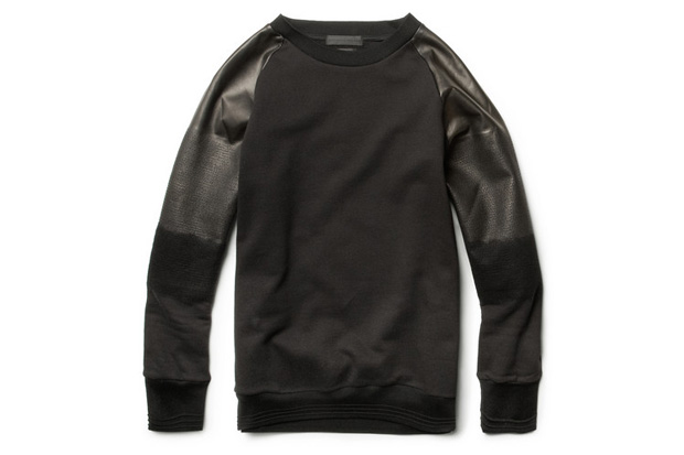 Image of Alexander McQueen Degrade Leather Sleeved Cotton Sweatshirt