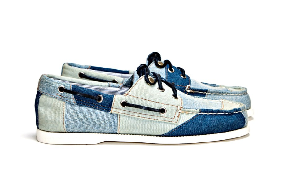Image of Band of Outsiders x Sperry Top-Sider 3-Eye Tri Tone Denim Boat Shoe
