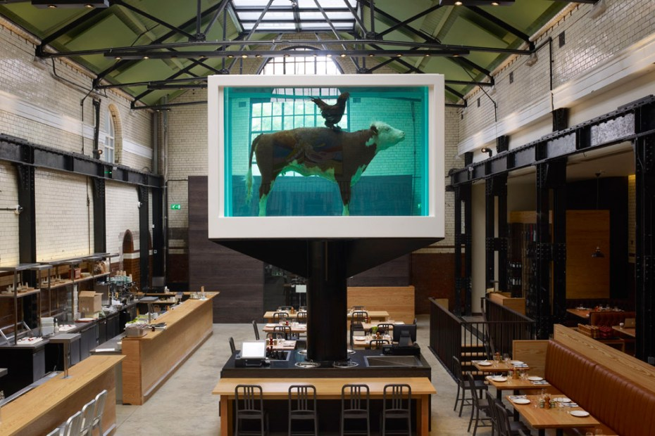 Image of Damien Hirst's 'Cock and Bull' @ Tramshed Restaurant