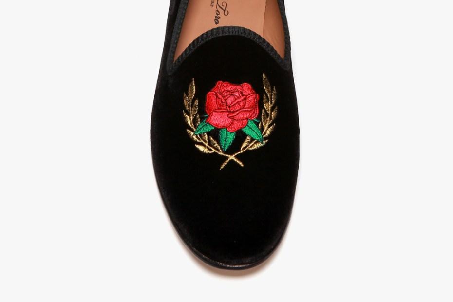 Image of Theophilus London x Del Toro Rose Crest Black Velvet Slipper