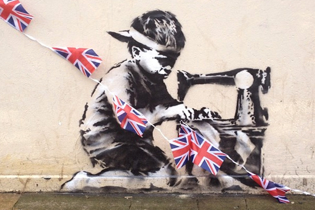 Image of Banksy's Union Jack Child Labor Stencil in London