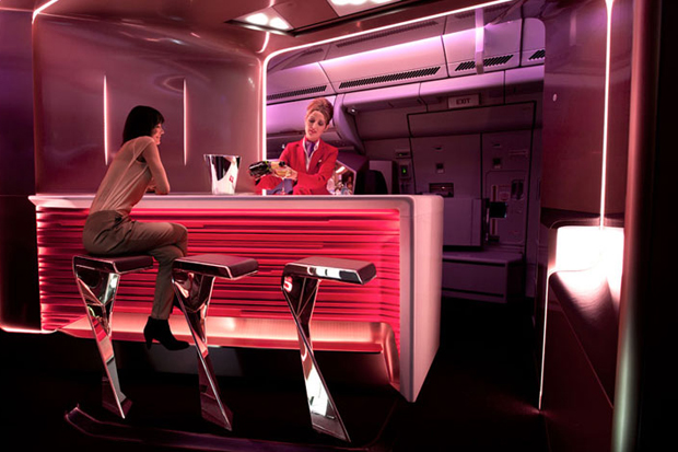 Image of Virgin Atlantic Airways Upper Class Bar and Cabin by VW+BS Studio