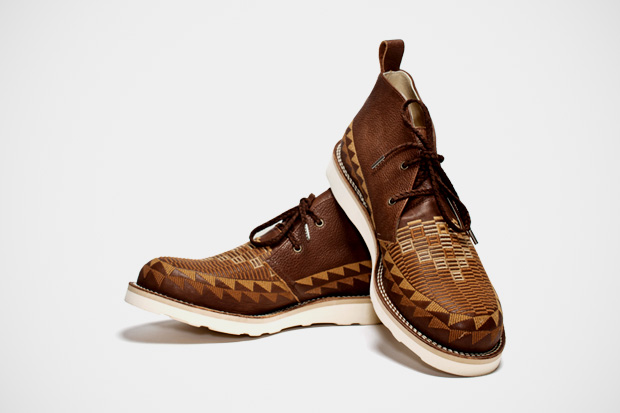 Image of White Mountaineering Brown Leather Chukka