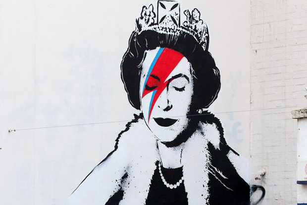 "Image of Bansky Paints the Queen as David Bowie's ""Aladdin Sane"""