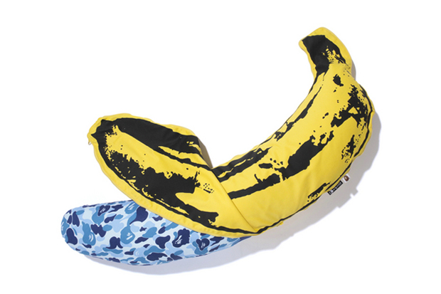 Image of Andy Warhol x Medicom Toy x A Bathing Ape 2012 CAMO BANANA Pillow Further Look 