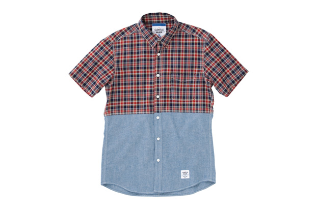 Image of MR.GENTLEMAN 2012 Summer Short-Sleeved Chambray & Check Shirt