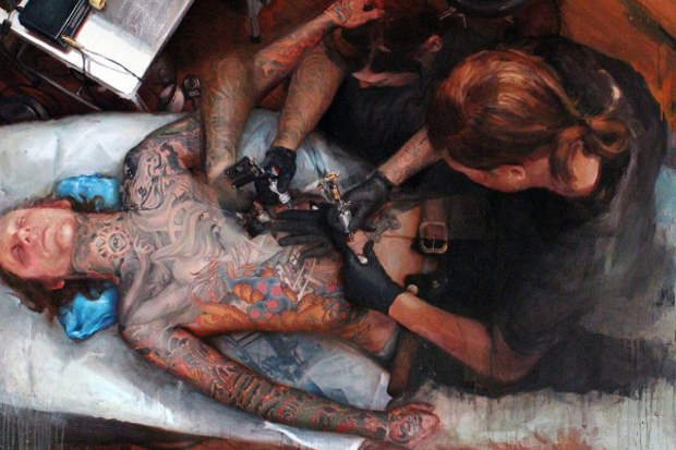 """Image of Shawn Barber """"Memoir: The Tattooed Portraits Series"""" Exhibition @ Joshua Liner Gallery Preview"""
