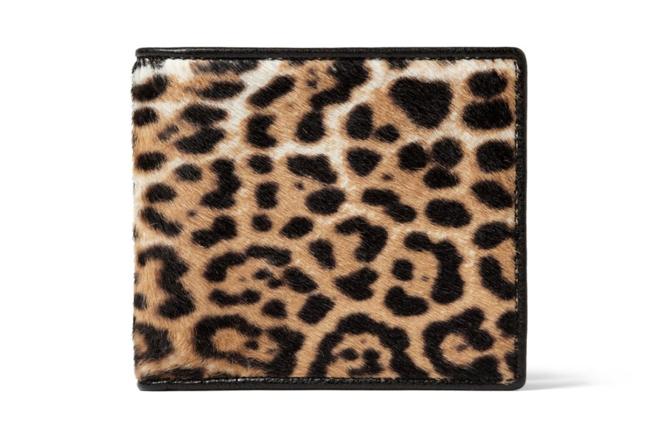 Image of Yves Saint Laurent Leopard Print Pony Skin Wallet