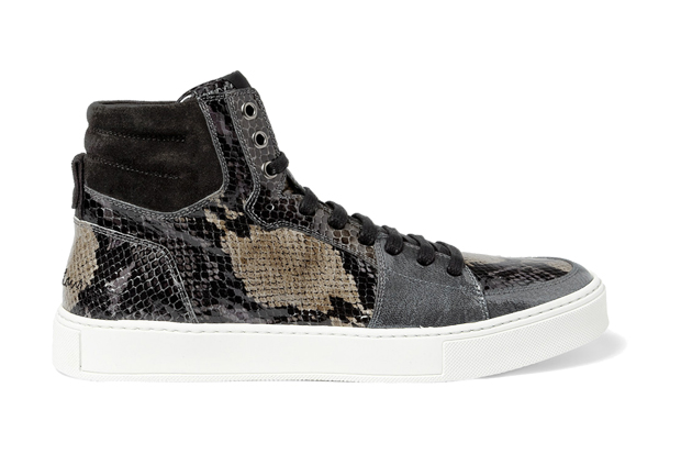 Image of Yves Saint Laurent Snake Print Patent Leather High Top Sneakers