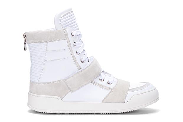 Image of Balmain White Ribbed Tongue Sneakers