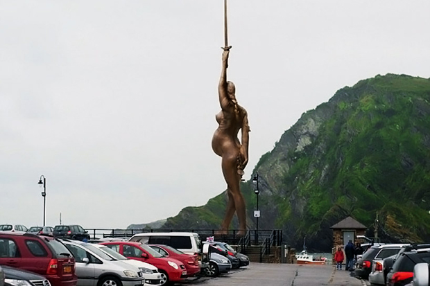 Image of Damien Hirst's 'Verity' Statue Proposal in England